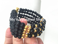 Wholesale Cheap African Beads Jewelry Set - 2016 new style black 100% natural crystal beads 5 rows african jewelry nigerian wedding bracelet for women party wedding gift cheap price
