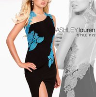 2016 ASHLEY Lauren sirena di vestiti da sera sexy puro lato del collo Appliques del merletto guaina Prom Dresses Satin Split Sheer abiti di sera Nets Indietro