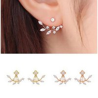 Wholesale Rose Swing - Fashion 18K Gold Plated Stud Leaf Crystal Earrings Double Sided Swing Stud Earrings Gold Rose Gold Silver free shipping