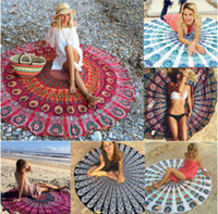 Wholesale Blue Sky Swimwear - DHL 150cm*150cm 27 Designs Round Towel Beach Cover Up Sexy Beach Towel Chiffon Swimwear Cover Up Yoga Mat