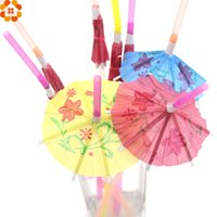 Novo! 20PCS 3D Umbrella Cocktail Drinking Paper Straws Plástico Flexível Bendy Straws Birthday Wedding Event Party Decoração