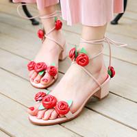 Wholesale Pink Rose Sandals Flower - sale!~fashion designer women b102 34 genuine leather pink rose cross tied med heel sandals flowers inspired