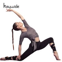 Wholesale Leggins Crop - Wholesale- Kaywide 2017 Summer Sporting Leggings Women Fitness Cropped Bandage Cross Leggins Woman Ballet High Elastic Workout Pants 1702