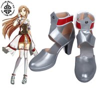 Wholesale Asuna Sword Cosplay - Wholesale-Sword Art Online Hollow Realization Asuna Yuuki high heel Cosplay Boots shoes shoe boot #GS115 Halloween Christmas