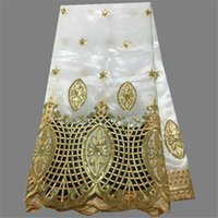 Wholesale Nice White Evening Dresses - Elegant white with gold sequins African george material nice party lace fabric for evening dress OG44-7 (5yards lot)