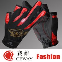 Wholesale white fishing gloves - Fishing Outdoor Sports Gloves Comfortable PU Anti Slip Resistant Fishing Gloves Mitten Fish Mittens Equipments Tackle New 2017 FREE SHIPPING