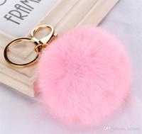 Wholesale Genuine Pearl Pendant Gold Chain - 100pcs 20 colors lovely 8CM Genuine Leather Rabbit fur ball plush key chain for car key ring Bag Pendant car keychain