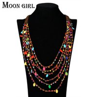 Wholesale red christmas choker resale online - Bohemia style beads pendant Choker necklace classic ethnic summer jewelry multilayer Rope chain statement necklace for women