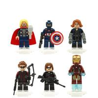 Wholesale Super Heros Action Figures Set - 6PCS lot The Avengers Minifigures super heros Blocks Action toy Figures 6 style Model Building blocks sets kids toys