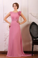 Wholesale Chiffon Cocktail Dress Long Hand - Dusty Pink Evening Dresses Jewel Sleeveless with Hand Made Flowers Floor Length Real Images Hollow V Back Evening Gowns