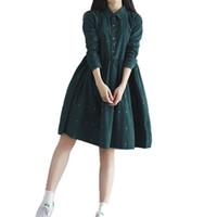 Wholesale Dress Girls Retro - Mori Girl Tshirt Dress Vintage Women Loose Lolita Dress with Collar Full Sleeve Casual Vestidos Corduroy Retro Female Clothing