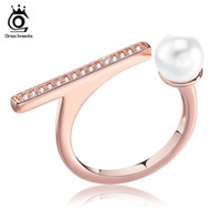 Wholesale Unique Pearl Gold Ring - Orsa Unique Design Rose Gold Color Open Ring Simulated Pearl Women Rings for Party Fashion Trendy Style Jewelry OR131