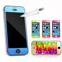 Wholesale Iphone 4s Color Screen Film - Screen Protector for IPHONE 5 5s 6 6plus 4 4S 5c front and back mirror protective film Gold color tempered glass