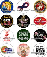 Wholesale Marine Coins - Free shipping MARINE CORPS MOM glass Snap button Charm Popper for Snap Jewelry good quality 12pcs   lot Gl382 jewelry making