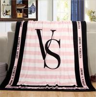 Wholesale Best Sale Europe - Blanket 130*150cm VS Pink Letter Air conditioning Rugs Soft Coral Velvet Rug Beach Towel Blankets Comfortable Carpet sale best