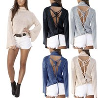 Frauen Casual Sexy Pullover Pullover Mode Backless Pullover Langarm Lace Up Strickwaren Rollkragen Bandage Tops YF327