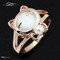 Wholesale Opal Cat Ring - Cute Cat Imitation Gemstone Ring 18K Gold Plated Cat's Eye Stone Opal Rings Fashion Party Jewelry For Women Wholesale DFR143