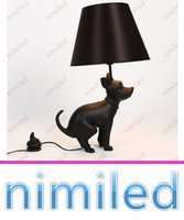 Wholesale Dog Desk Lamp - nimi1031 Italian Resin Creative Proud Dog Puppy Proud Table   Desk Lamp Lighting Black Dog Lights Meeting Living Room Bedroom Decorative