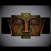 Wholesale Metal Art Wall Panel - 5 Panel Framed HD Printed Metal Buddha Face Artwork Modern Home Wall Decor Painting Canvas Art Painting Wall Poster Pictures