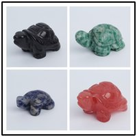 Wholesale carved stone figurines - 1.3-1.7inch Quartz crystal Tortoise Figurine Carving Stone Longevity Chakra Healing Reiki Stones Carved Craft crystal tortois Free Shipping