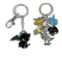 Wholesale Keys Colored - How To Train Your Dragon Toothless figure doll small colored metal pendant keychain Key Ring Tags