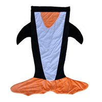Wholesale Good Kids Clothing - DHL fedex Kids penguin Sleeping Bags Winter Warm Blanket cartoon Shark Sleeping Bag good quality feel fit for trail 120*96CM C1249