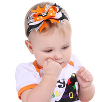 Wholesale Toddler Party Dress Headbands - Pumpkin and Ghost Halloween Favor Headbands 2017 Fashion Halloween Hair Accessories for Babies and Toddler Girls Party Dressing Up Giveaways
