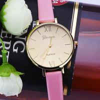 Wholesale geneva watch quartz resale online - Hot Selling Easy To Read Geneva Watch Women PU Leather Female Watches Analog Quartz Watch Women Dames Horloges