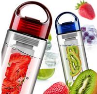 Wholesale Ce Bike - Fruit Infusing watter bottle Lemon Juice Maker 600ml cap Fruit Infuser bike travel school BPA Sports clear Health cup