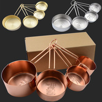 Wholesale Measuring Cups Spoons Set - Newest Copper Stainless Steel Measuring Cups 4 Pieces Set Kitchen Tools Making Cakes and Baking Gauges Measuring Tools WX9-32