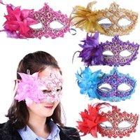 tatil maskeli maskeleri toptan satış-Moda Kadınlar Seksi maske Yortusu Venedik göz maskesi masquerade maskeleri ile çiçek tüy Paskalya maske dans parti tatil maskeleri MK28