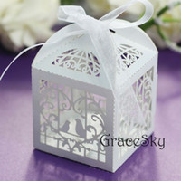 Wholesale Wedding Boxes Europe - 100pcs Laser Cut Birds in Cage Design Chocolate Candy Paper Boxes Elegant for Wedding Party Candy Paper Boxes Table Decoration,Free shipping