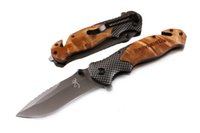 Wholesale carbon fiber wood - 201609 Browning Knives X50 Tactical Folding Knives Wood +Carbon Fiber Handle Blade 440C 57HRC Tactical Camping Knife Gift F679L
