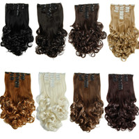 Wholesale curly clip hair extensions set resale online - 8pcs set Clip in hair extensions Synthetic hair piece Curly Style inch g Clip on hair extensions Women Fashion