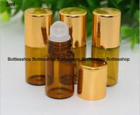 Wholesale Stainless Steel Tube Beads - 3ml (1 10oz) glass tube amber roll-on Perfume bottle 3ml Stainless steel beads roll-on Glass dropper bottles for essential oil by DHL