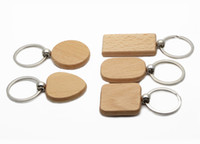 Wholesale Flags Photos - 25X Blank Wooden Key Chain Personalized Wood Keychains Rectangle,Squre,Round and Heart Sharped Four Size to Choose KW01X Drop Shipping