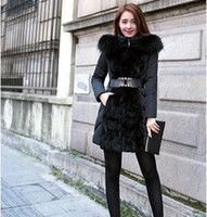 black surcoat - Hot sale New fashion winter Outerwear female Slim luxury Coats hooded Fur collar Warmth womens surcoat with belt black Clothing large size