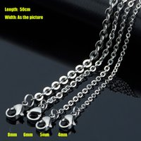 Wholesale Collars Steel China - Real Titanium Stainless Steel Fashion Jewelry High Polished Collar O Shape Chains Necklace 50cm 4mm 5mm 6mm 8mm