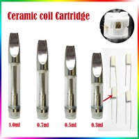 Wholesale Wholesale Huge - Ceramic Coil Glass Tank Cartridge CE3 Pyrex Glass Bud A3 Atomizer Huge Oil Vaporizer V2 Stainless Steel 510 Thread Wickless Coil Tank