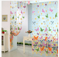 Wholesale curtain fabric resale online - Room Divider Pelmets Butterfly Print Sheer Curtain Panel Window Balcony Tulle