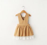 Wholesale Garment Lining Wholesale - 2016 Summer Girl's Dresses Baby Kids Clothing Girl Lace Suspender Dress 2 Color Children Cotton Overalls Korean Child Garments Lovely 9313