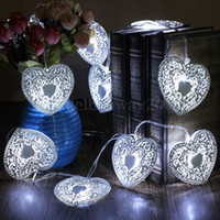 Wholesale Metal Heart Ornaments - 2016 Heart Shaped Christmas String Ligh Festival Halloween Party Wedding Decor Indoor Outdoor Warm White 10LED Fairy Light Metal