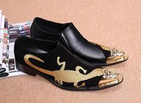 Wholesale Personalized Wedding Shoes - Personalized men black leisure slippers shoes fashion metal tip toe Emboridered lizards design black boat shoes
