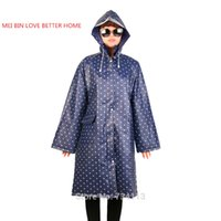 Raincoat MEI BIN LOVE MAIS CASA poncho Mulheres Stylish Slim Long Polka Dot Zipper Rainforado com capuz Rain Poncho