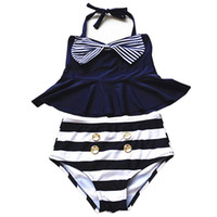 PrettyBaby 2016 Big Girls Rock Bikini Zwei Stück Badeanzüge Striped Sailor Shirt hohen Taille Bikini Set Navy Badeanzug Kinder