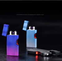 Wholesale Induction Lighters - 2017 New Double Arc Lighter Creative Infrared laser induction USB Lighters Cross Electronic Cigarette Lighter Windproof Sexy