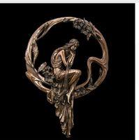 metall moderne abstrakte wandkunst großhandel-Kunsthandwerk Kupfer ATLIE Retro Wohnkultur Metall Wandkunst Mädchen Lost Wax Bronze Statue Abstraktes Metall Wandkunst Modern Decor Vintage Handwerk Hang