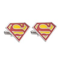 Wholesale Male Jewellery - 2016 Jewellery silver superman cufflinks male French shirt cuff links for men's Jewelry Gift Free shipping zj-0903654