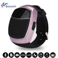 reloj inteligente manos libres al por mayor-B90 Sports Bluetooth Altavoz Manos libres Llamada Tarjeta TF Reproducción Radio FM Autodisparador Altavoces inalámbricos Reloj inteligente Pantalla de tiempo