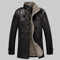 Wholesale Lether Jacket Men - New Winter Mens Fur Stand Collar Thickening&Wool Windbreak Waterproof Leather Jackets Men's Lether Coat Asian Size M-4XL
